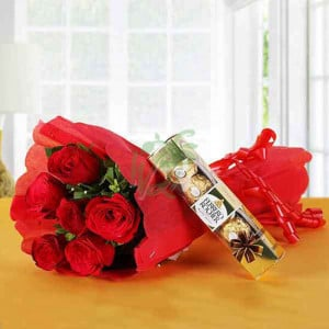 Ferrero Red Love - Wedding Anniversary Bouquet with Cake Delivery