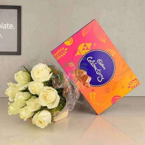 White Roses N Celebrations - Send Diwali Flowers Online