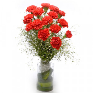 Red Sky N You - Glass Vase Arrangements