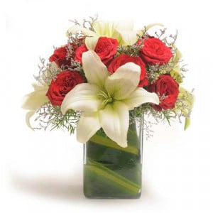 Roses N Lilies - Glass Vase Arrangements