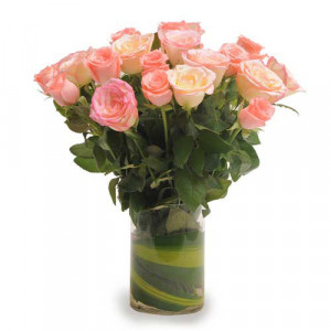 Pink Roses N Vase - Send Birthday Gift Hampers Online