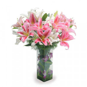 Lilies N Orchids - Glass Vase Arrangements