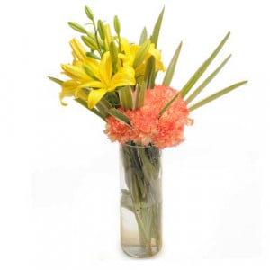 Orange Delight - Glass Vase Arrangements