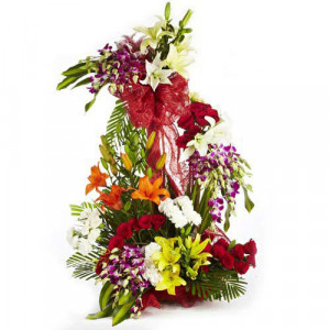 Rhythm Divine Mix Flowers - Glass Vase Arrangements