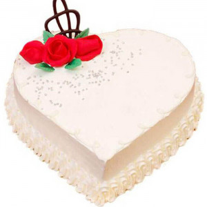 Heart Shape Creamy Vanilla Cake - Send Heart Shaped Cakes Online