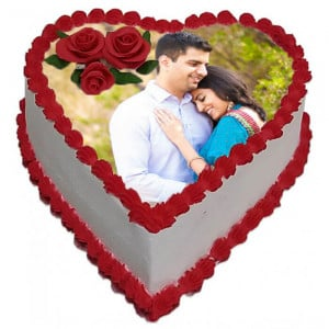 Personalised Photo Cake - Send Heart Shaped Cakes Online