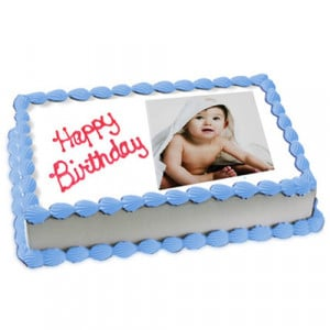 1kg Photo Cake Vanilla Sponge Eggless - Birthday Cake Online Delivery - Send Personalised Photo Cakes Online
