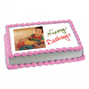 1kg Photo Cake Butterscotch Eggless - Birthday Cake Online Delivery - Send Eggless Cakes Online