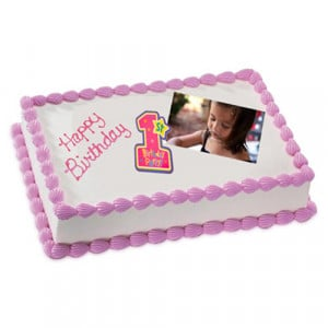 1kg Photo Cake Chocolate Sponge Eggless - Birthday Cake Online Delivery - Online Cake Delivery in India