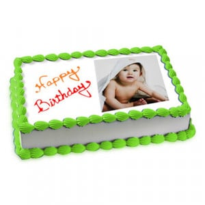 1kg Photo Cake Pineapple Eggless - Send Personalised Photo Cakes Online