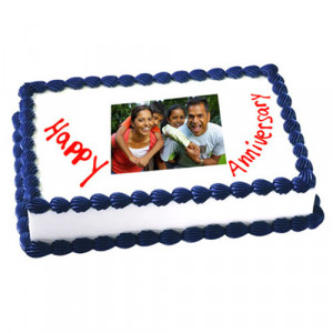 1kg Anniversary Photo Cake Eggless - Send Personalised Photo Cakes Online
