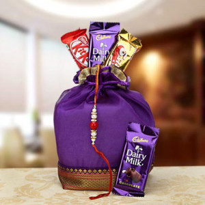 Rakhi Chocolaty Wishes Combo - Rakhi for Brother Online