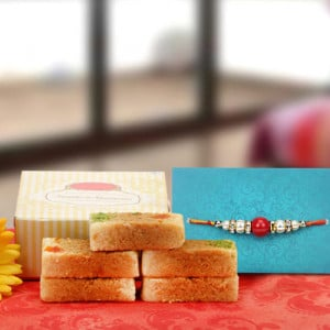 Milk Cake With Rakhi - Send Rakhi Gifts Online