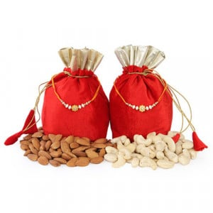 2 Dry Fruits Potli Bags - Send Rakhi Gifts Online