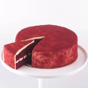 Red Velvet Round Cut Cake - Send Eggless Cakes Online