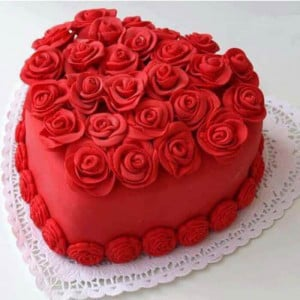 Heart Shape Red Velvet Flowery Cake - Send Heart Shaped Cakes Online