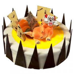 The Pineapple Cat 1kg - Birthday Cake Online Delivery - Send Pineapple Cakes Online