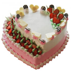 Creamy Strawberry Double Heart Cake (2 Kg) - Send Eggless Cakes Online