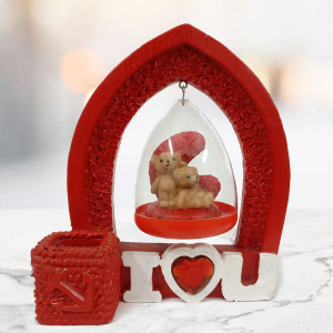 Cute Romantic ILU Hanging Teddy Bears - Send Gifts to Zirakpur