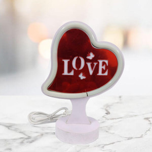 Red LED Heart Shaped Lamp - Send Gifts to Zirakpur