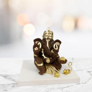 Ganesha Gold Plated Marble Idol - Send Gifts to Mohali