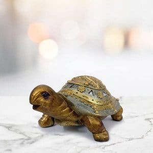 Golden Tortoise Idol Showpiece - Send Gifts to Mohali