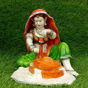 Rajasthani Lady Grinding Showpiece - Send Gifts to Mohali
