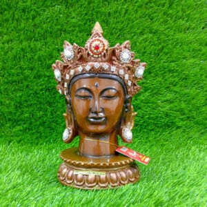 Crown Buddha Brown Head Statue - Send Gifts to Mohali
