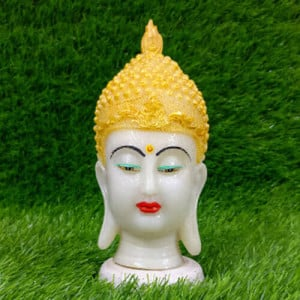 Poly Resin Crown Buddha Head - Pinjore