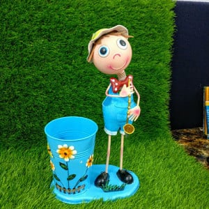 Metal Garden Pots Small Blue Boy - Send Gifts to Mohali