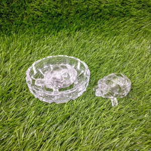 Crystal Turtle Tortoise With Plate - Send Gifts to Mohali