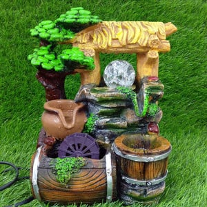 Brown & Green Water Fountain Showpiece - Send Gifts to Mohali