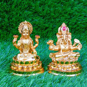 Gold Plated Lakshmi Ganesha Idols Statue - Send Gifts to Mohali