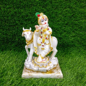 Large Krishna Murti Besides Cow Idol - Pinjore