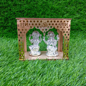 Idols Of Lakshmi Ganesha With Wooden Temple - Send Gifts to Mohali