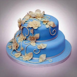 2 Tier Flowery Bud On Vanilla Cake - Send Party Cakes Online
