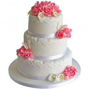 3 Tier Pink Wedding Cake - Send Wedding Cakes Online