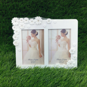 Lovely White Dual Photo Frame - Send Gifts to Mohali