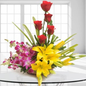 Sweet Splendor - Flower Basket Arrangements Online