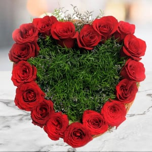 Heart Shape Roses 17 Red Roses Online - Send Heart Shape Flower Arrangement Online