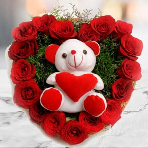 Roses N Soft toy - Send Heart Shape Flower Arrangement Online