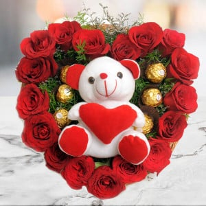 Love Combo - Send Heart Shape Flower Arrangement Online