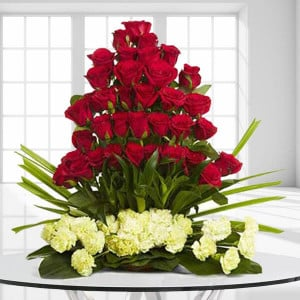 Classic Celebrations 30 Red Roses 20 Yellow Carnations - Flower Basket Arrangements Online