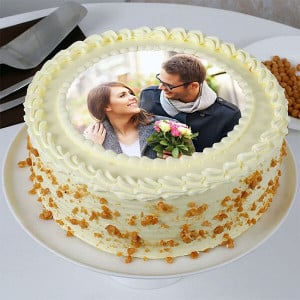 Round Butterscotch Photo Cake - Online Cake Delivery in Mohali