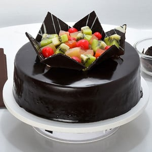 Chocolate Fruit Gateau 1kg - Send Eggless Cakes Online