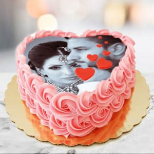 Joy Of Love Photo Cake Heart Shape - Anniversary Cakes Online