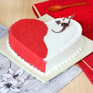 Red Velvet Valentine Cake - Marriage Anniversary Gifts Online