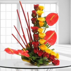 Modern Basket | Online Flower Delivery - Kiss Day Gifts Online
