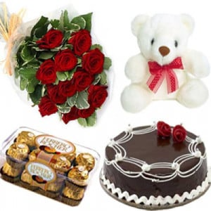 Super Combination - Valentine Flowers and Cakes Online