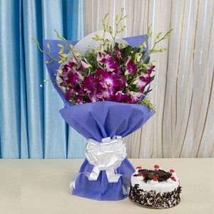 Exotic Orchids n Cake Hamper - Online Flower Delivery in Karnal